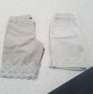 Other - 2 Pairs Girls Khaki Shorts